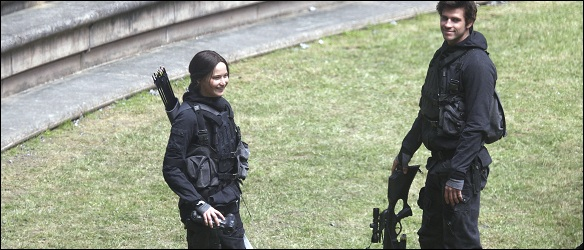 Jennifer Lawrence and Liam Hemsworth seen filming on the sets of The Hunger Games: Mockingjay in Paris